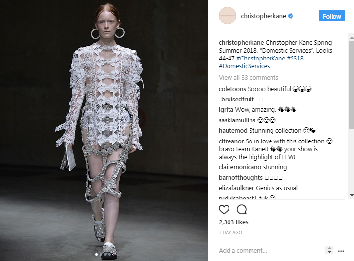 Photograph Instagram Christopherkane Londonfashionweek