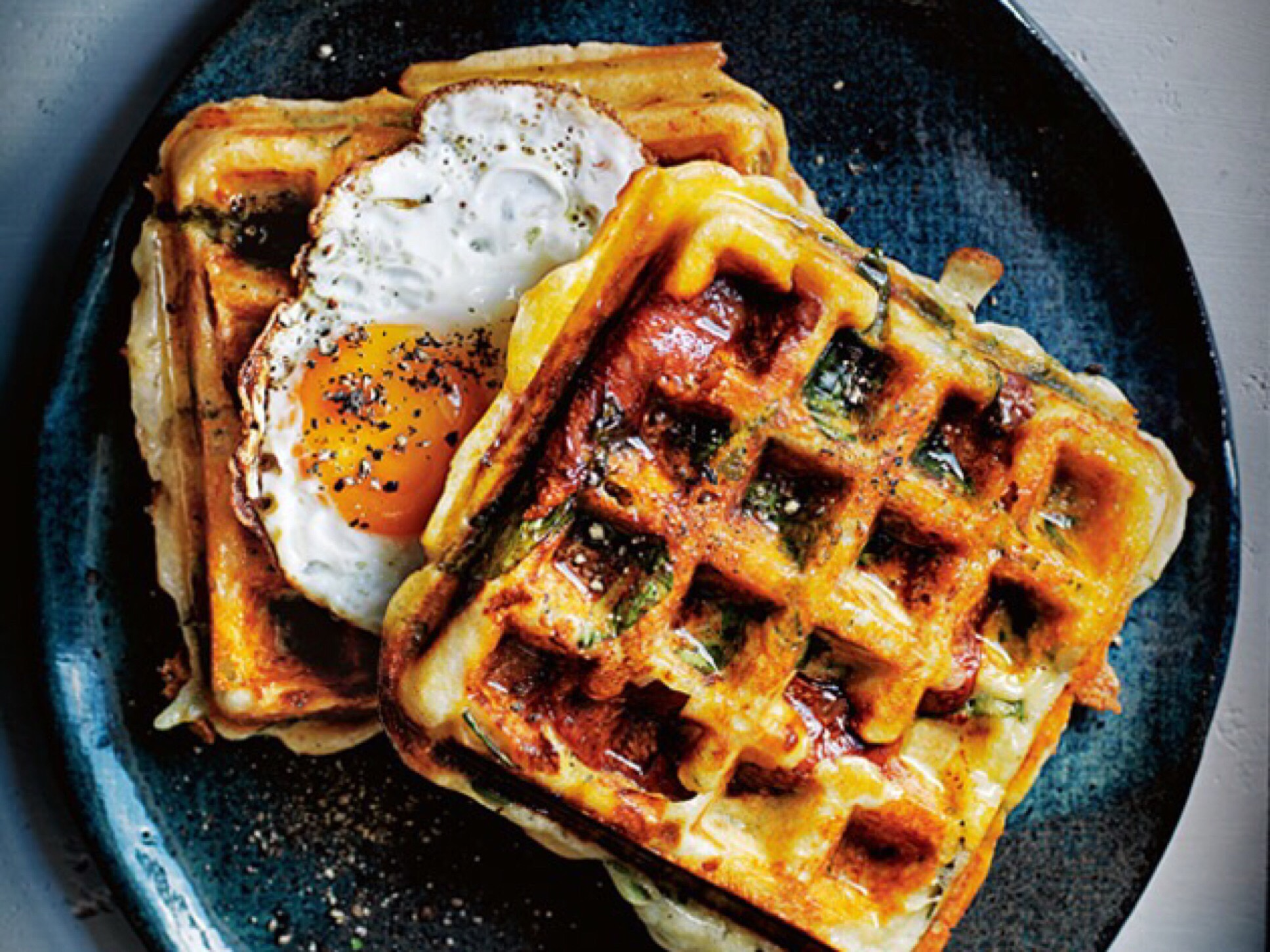 Egg waffles - breakfast in bed