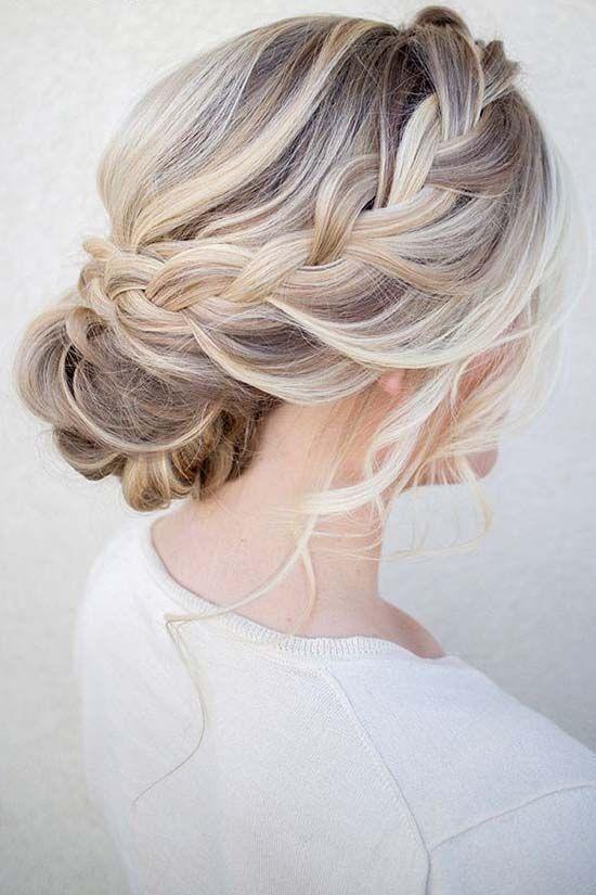 Prom hair idea girl with braided bun