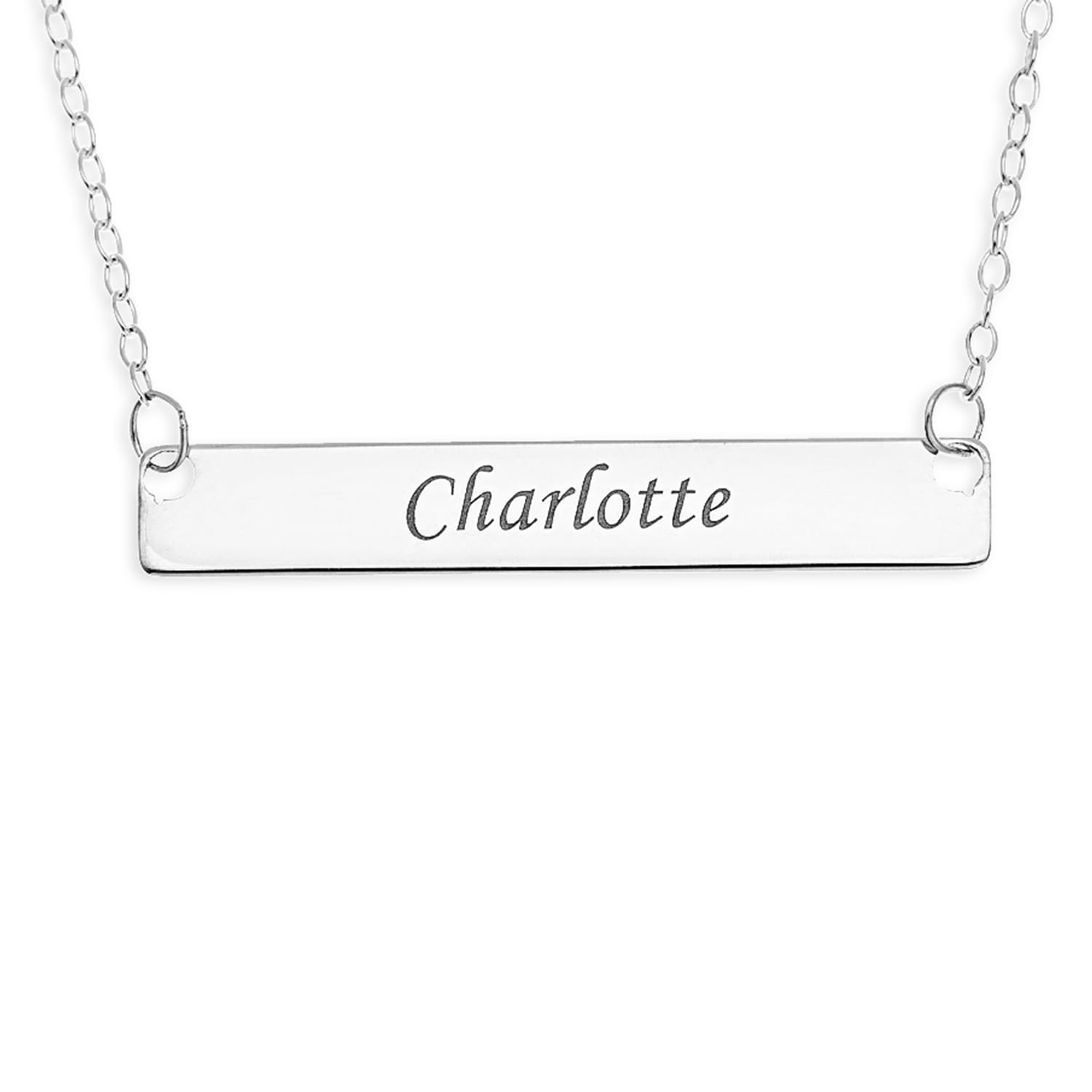 Personalised Gifts Sterling Silver Engraved Name Necklace Bar Pendant