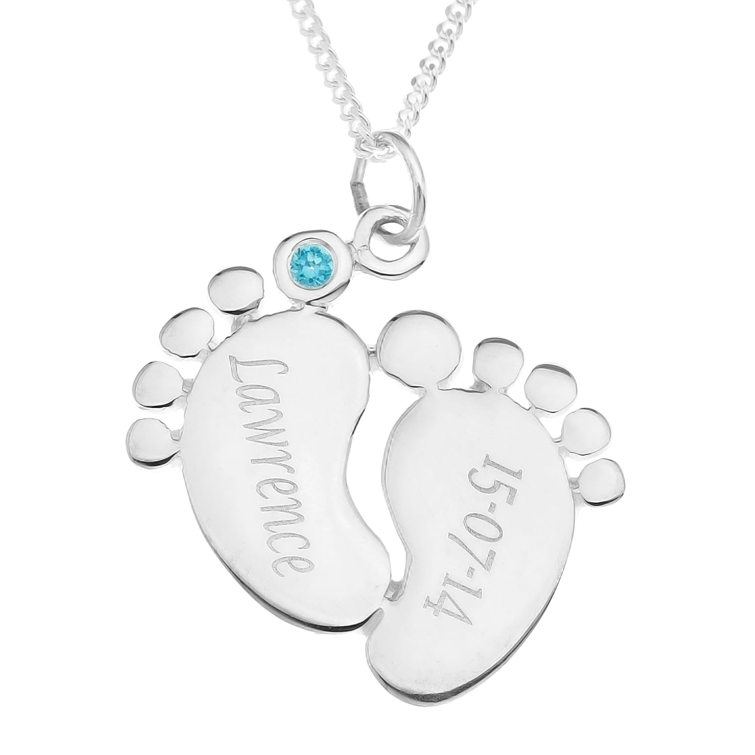 Personalised Gifts Sterling Silver Baby Gift Pendant With Name, Birthday and Birthstone