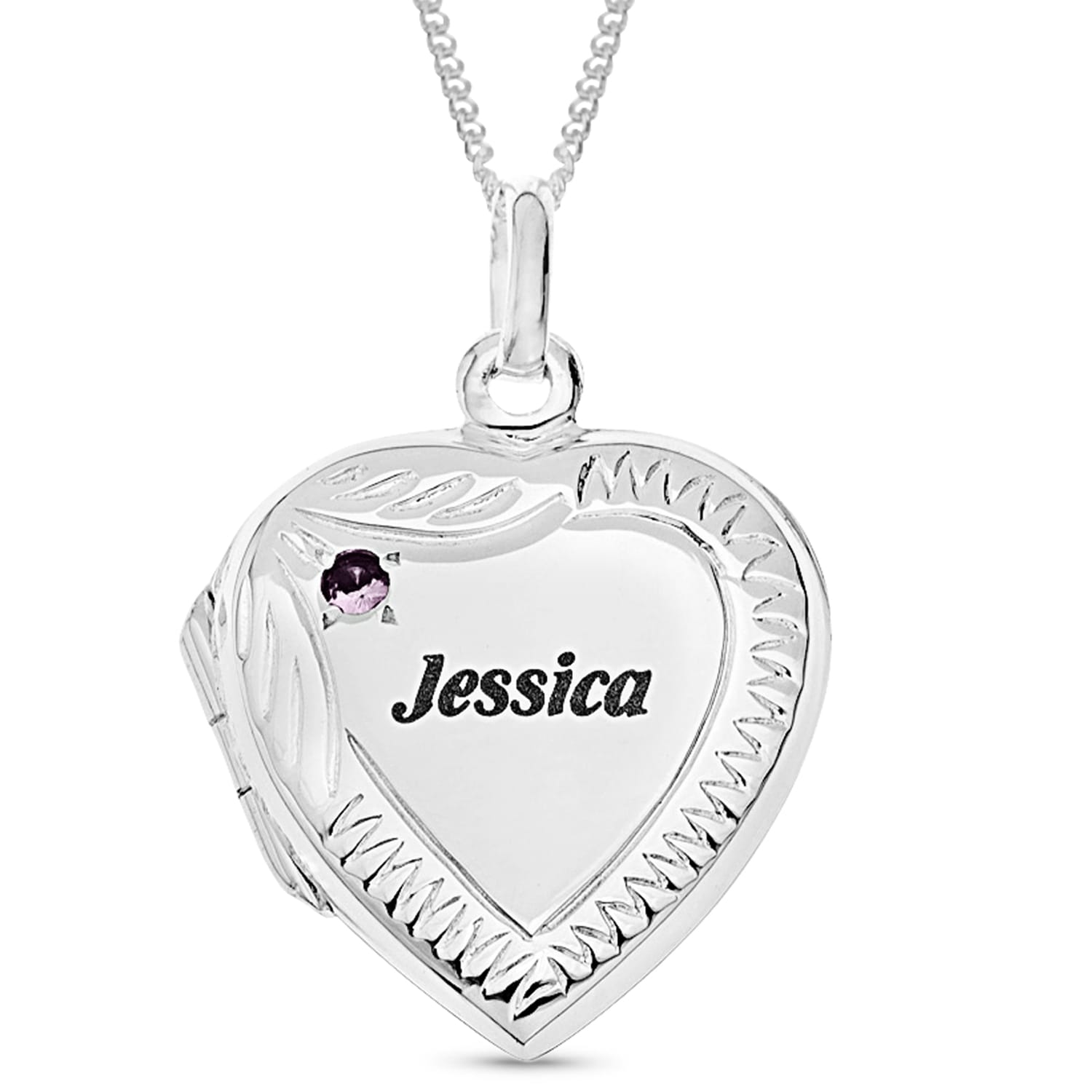 Personalised Gifts Sterling Silver Engraved Heart Locket With Birthstone