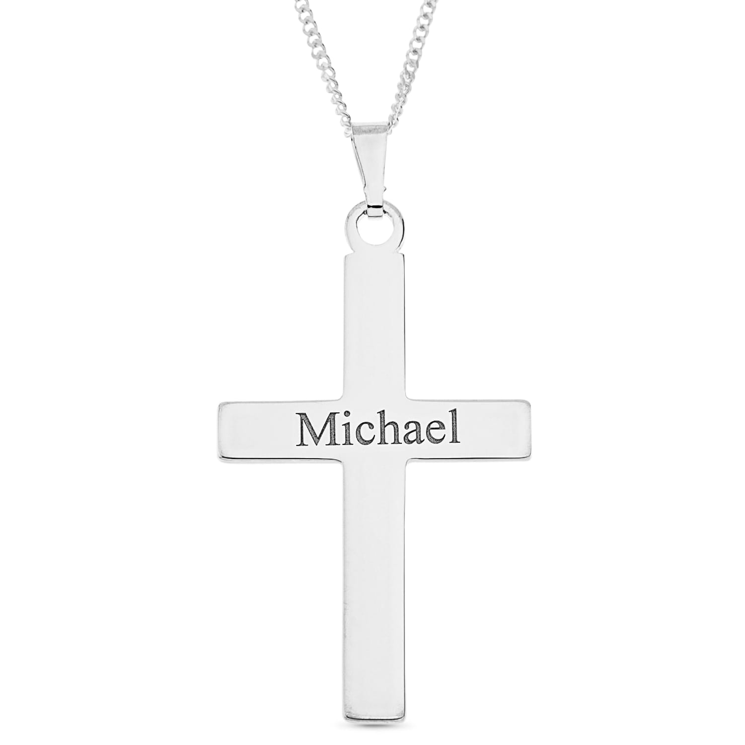 Sterling Silver Personalised Christening Gift Cross Pendant Engraved with Name