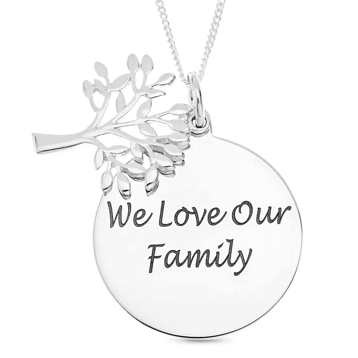 Personalised Gift Sterling Silver Pendant with Tree of Life