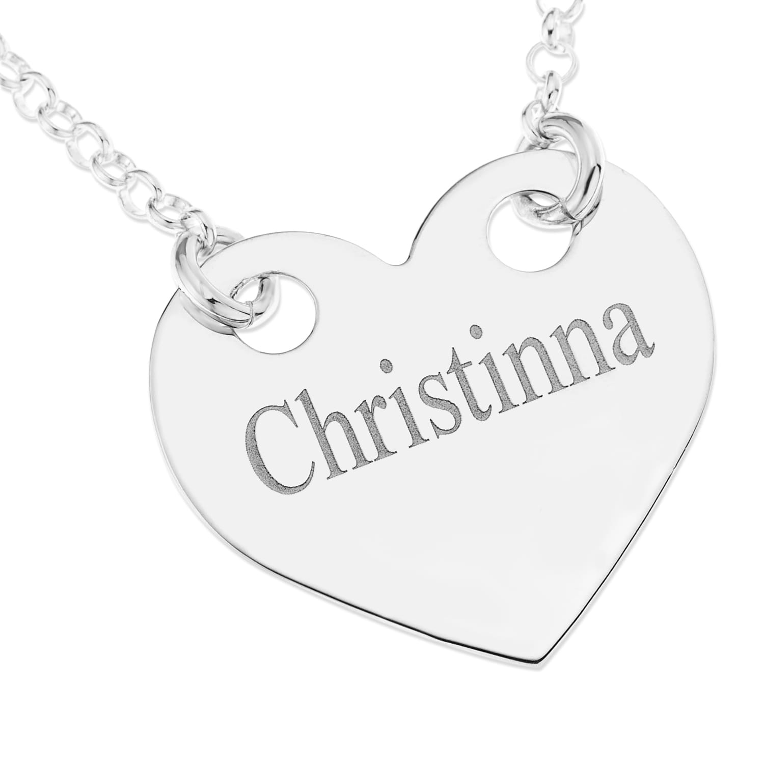Personalised Gifts Sterling Silver Heart Pendant with Names Engraved
