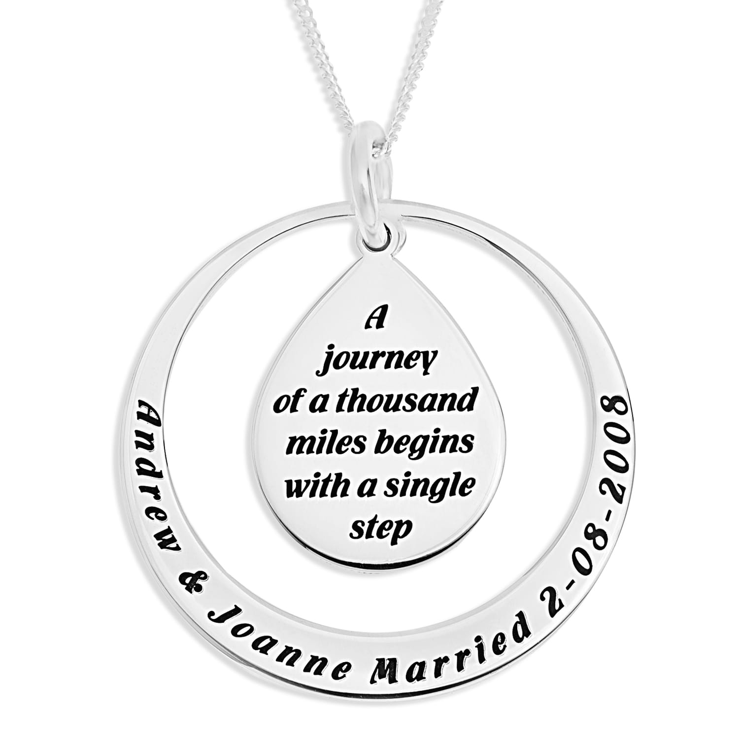 Personalised Wedding Gift Sterling Silver Engraved Pendant