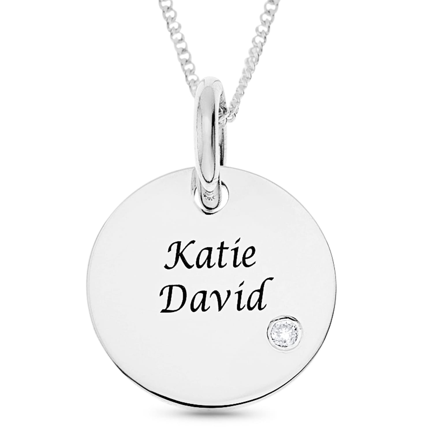 Personalised Gifts Sterling Silver Pendant with Names Engraved
