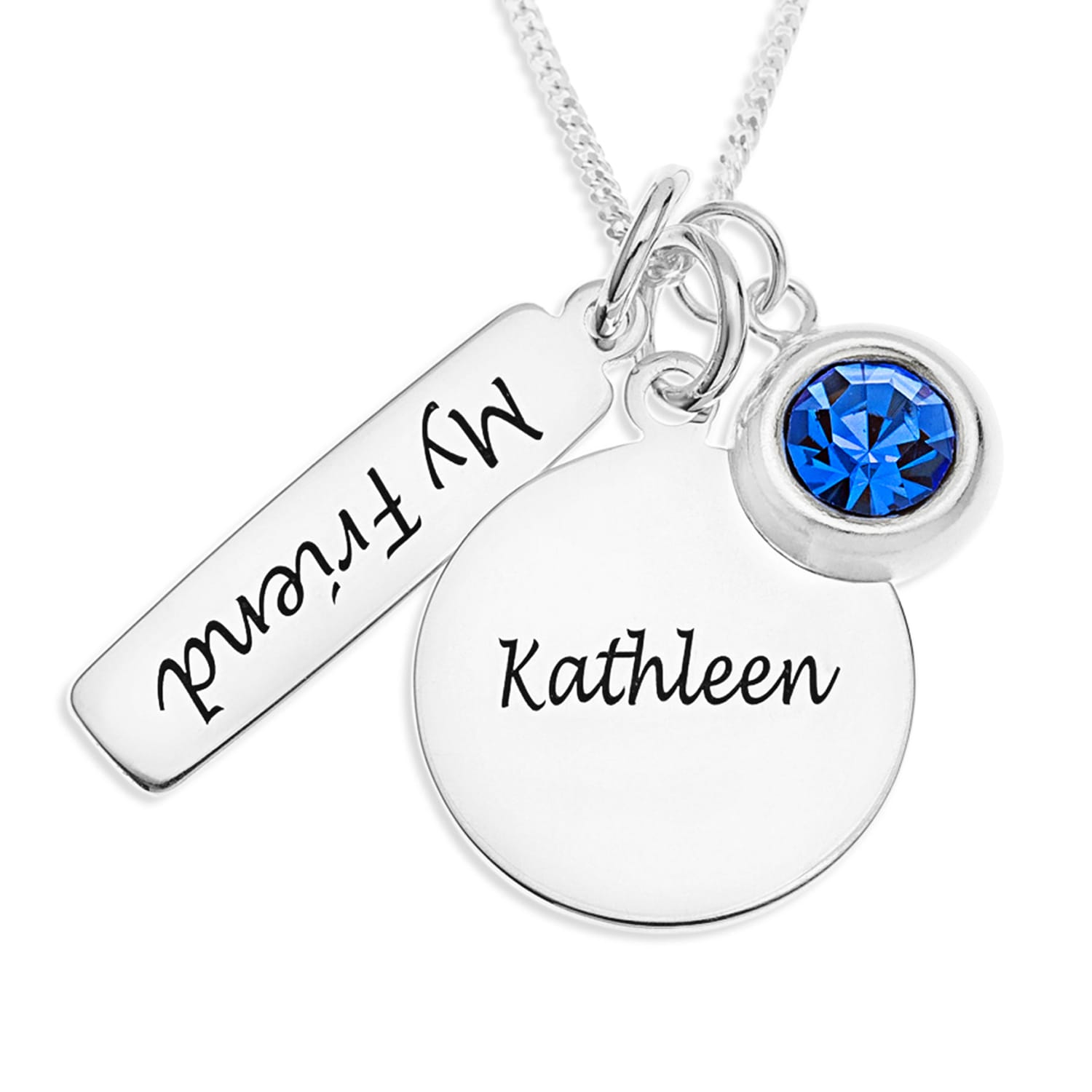 Personalised Gifts Sterling Silver Friendship Pendant with Birthstone