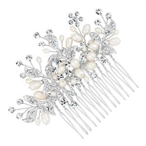 Alan Hannah Devoted Designer Silver Crystal Leaf And Freshwater Pearl Spray Comb