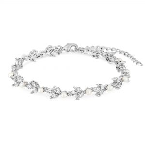 Alan Hannah Devoted Silver Plated Clear Pearl Victoria Bracelet