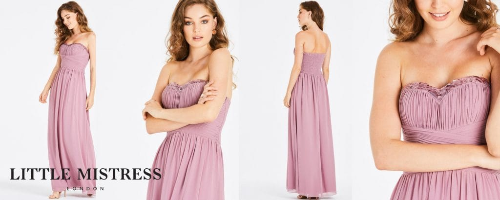 CHANDRA BLUSH SEQUIN TRIM BANDEAU MAXI DRESS