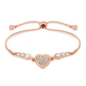 Jon Richard made with Swarovski® crystals Rose Gold Plated Clear Heart Toggle Bracelet