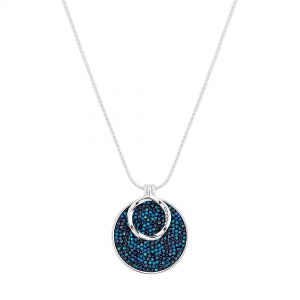 Jon Richard made with Swarovski® crystals Silver Plated Blue Polished Short Pendant Necklace