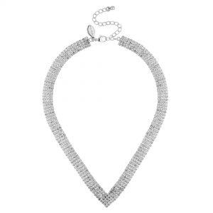 Jon Richard Silver Crystal Helena Diamante Statement Necklace