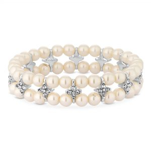 Jon Richard Silver Plated Clear Pearl Floral Stretch Bracelet