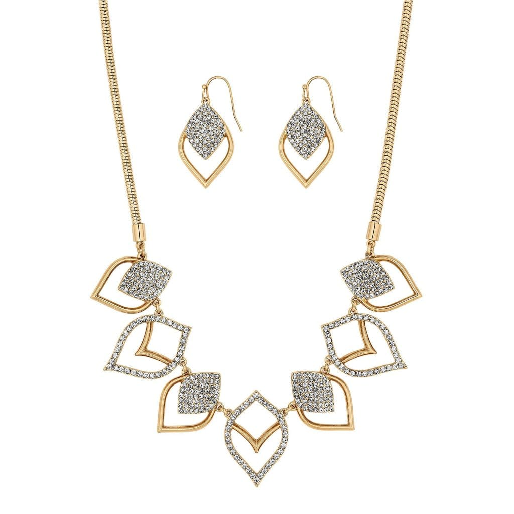MOOD By Jon Richard Gold Plated Clear Pave Medina Cutout Matching Set