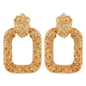 MOOD By Jon Richard Gold Textured Door Knocker Earrings