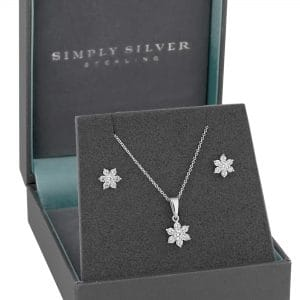 Simply Silver Sterling Silver 925 White Cubic Zirconia Flower Matching Set