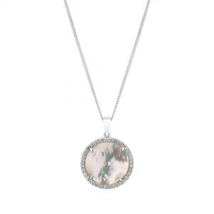 Simply Silver Sterling Silver 925 White Mother Of Pearl Disc Short Pendant Necklace