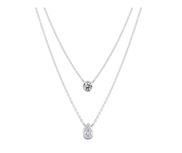 Simply Silver Sterling Silver 925 White Cubic Zirconia Double Besel Set Round And Pear Allway Necklace