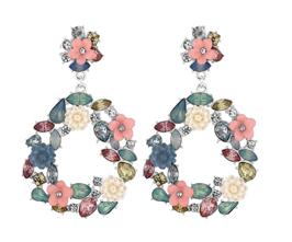 MOOD By Jon Richard Mix Media Floral Teardrop Earrings