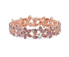 MOOD By Jon Richard Rose Gold Plated Pink Floral Stretch Bracelet