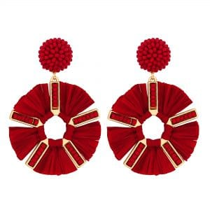 MOOD By Jon Richard Gold Plated And Red Tassel Beaded Rafia Style Earring