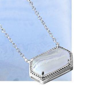 Sterling Silver 925 Blue Lace Agate Semi Precious Necklace