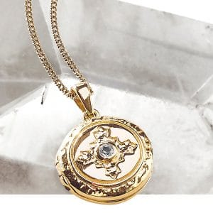 12ct Yellow Gold Plated Sterling Silver 925 White Topaz Locket Short Pendant Necklace
