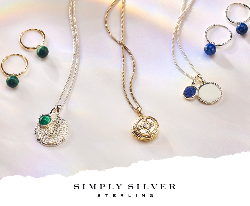 the new range of Semi Precious jewellery from Simply Silver showing gold and silver earrings and necklaces