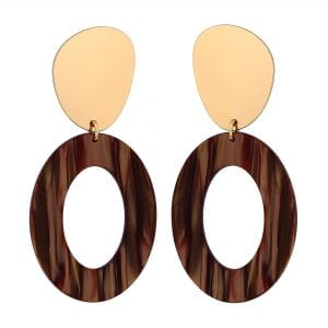 MOOD By Jon Richard Gold Plated Brown Metal Stud With Cutout Oval Resin Drop Earring