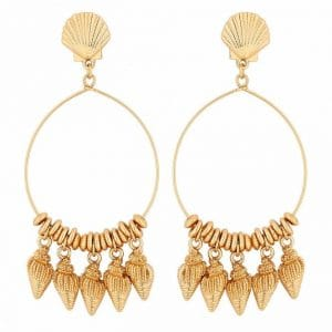 MOOD By Jon Richard Gold Plated Cast Shell Charm Hoop Earring