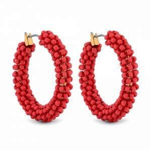MOOD By Jon Richard Gold Plated Coral Beaded Hoop Earrings