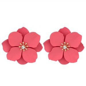 MOOD By Jon Richard Gold Plated Coral Flower Stud Earrings