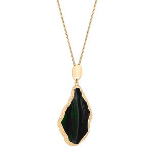 MOOD By Jon Richard Gold Plated Green Slab Pendant Necklace