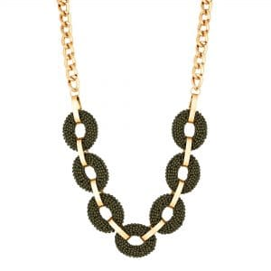 MOOD By Jon Richard Gold Plated Khaki Beaded Circle Link Necklace