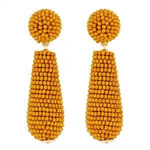 MOOD By Jon Richard Gold Plated Mustard Yellow Seed Bead Drop Earring