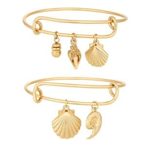 MOOD By Jon Richard Gold Plated Shell Shaped Charm Bangle Bracelet Multipack