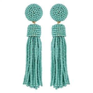 MOOD By Jon Richard Gold Plated Turquoise Tassel Bead Drop Earrings