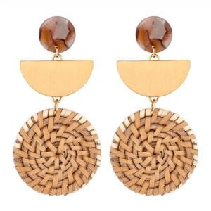 MOOD By Jon Richard Gold Plated White Basket Weave Resin Top Drop Earring