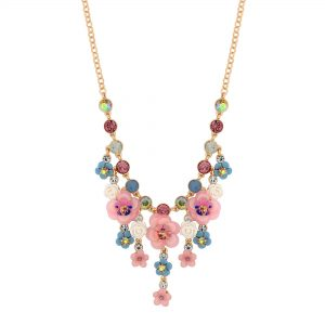 MOOD By Jon Richard Rose Gold Mix Media Floral Necklace