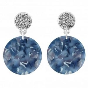MOOD By Jon Richard Silver Plated Crystal Blue Disc Drop Earring