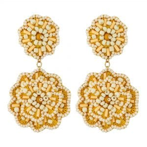 MOOD By Jon Richard Yellow Beaded Flower Drop Earrings
