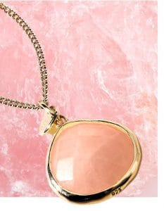 12ct Yellow Gold Plated Sterling Silver 925 Pink Rose Quartz Semi Precious Pendant