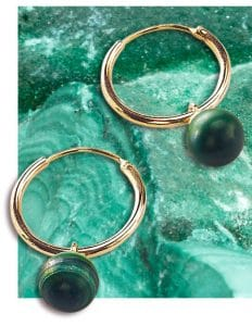 12ct Yellow Gold Plated Sterling Silver 925 Green Malachite Semi Precious Hoop Earrings