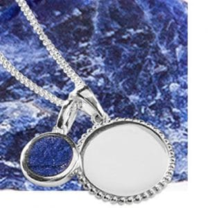 Sterling Silver 925 Silver Texture Edge Disc and Silver Lapis Charm Short Pendant