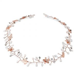 Jon Richard Rose Gold Plated Clear Crystal Long Hair Vine