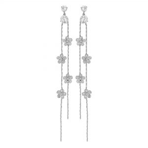 Jon Richard Silver Plated Clear Cubic Zirconia Flower Drop Earring