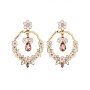 Lipsy Enamel Flower Front Facing Hoop Drop Earring