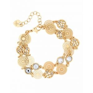 Lipsy Gold Filagree 2 Row Bracelet